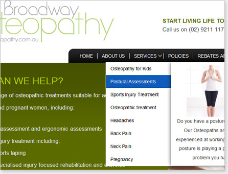We've done extensive search engine optimisation, design and development work with BroadwayOsteopathy.com.au.
